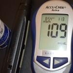 朝の空腹時血糖値109と正常高値